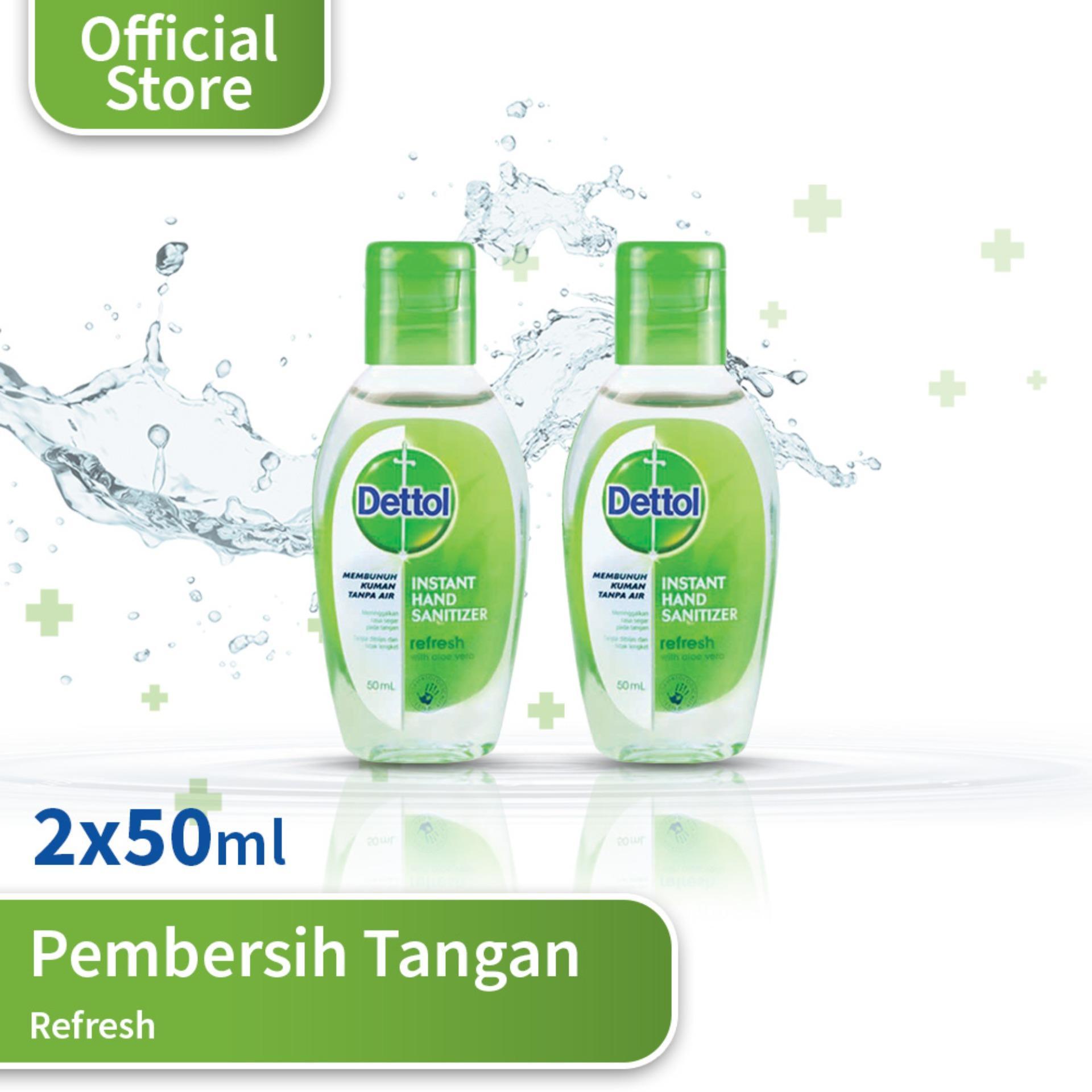 Dettol Hand Sanitizer Refresh 50 Ml (2 Pcs) By Dettol Official Store