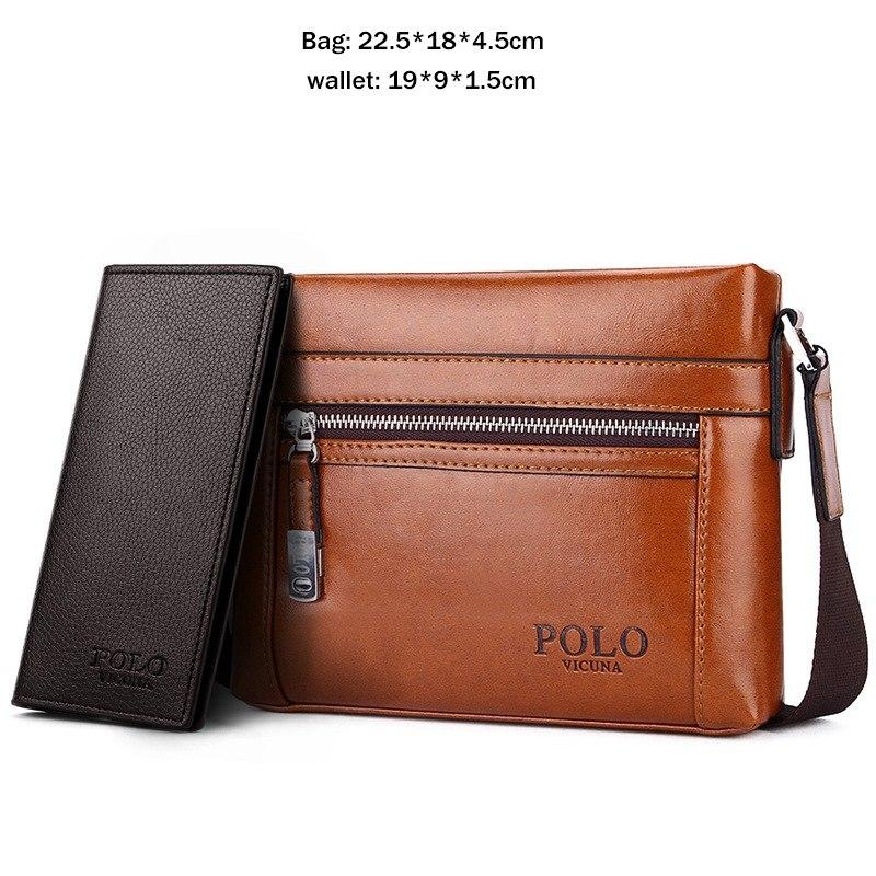 228415d020f VICUNA POLO High Quality Theftproof Waxy Leather Brand Man Bag With Metal  Hasp Small Men's Crossbody