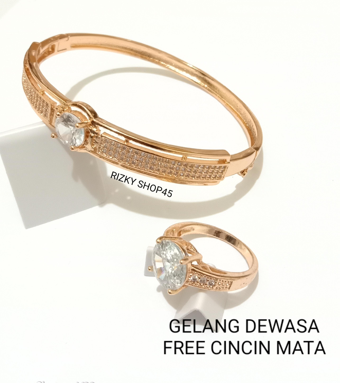 Gelang wanita xuping tangan dewasa permata free cincin mata 24K emas gold