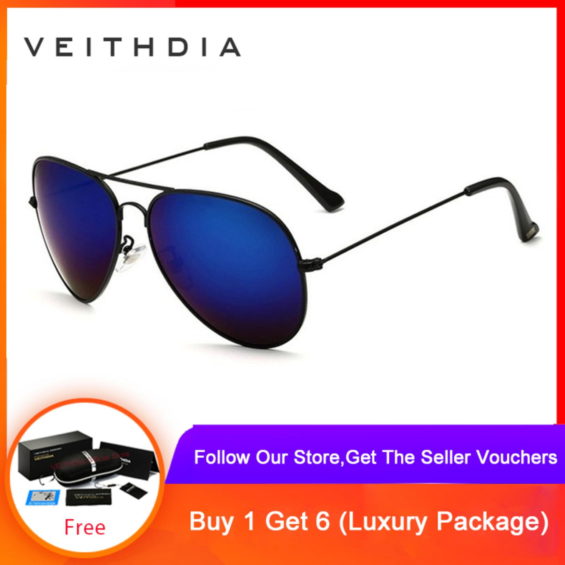 COD+Pengiriman Gratis VEITHDIA Merek Fashion Klasik Pria/wanita Terpolarisasi Kacamata Hitam Warna Lapisan