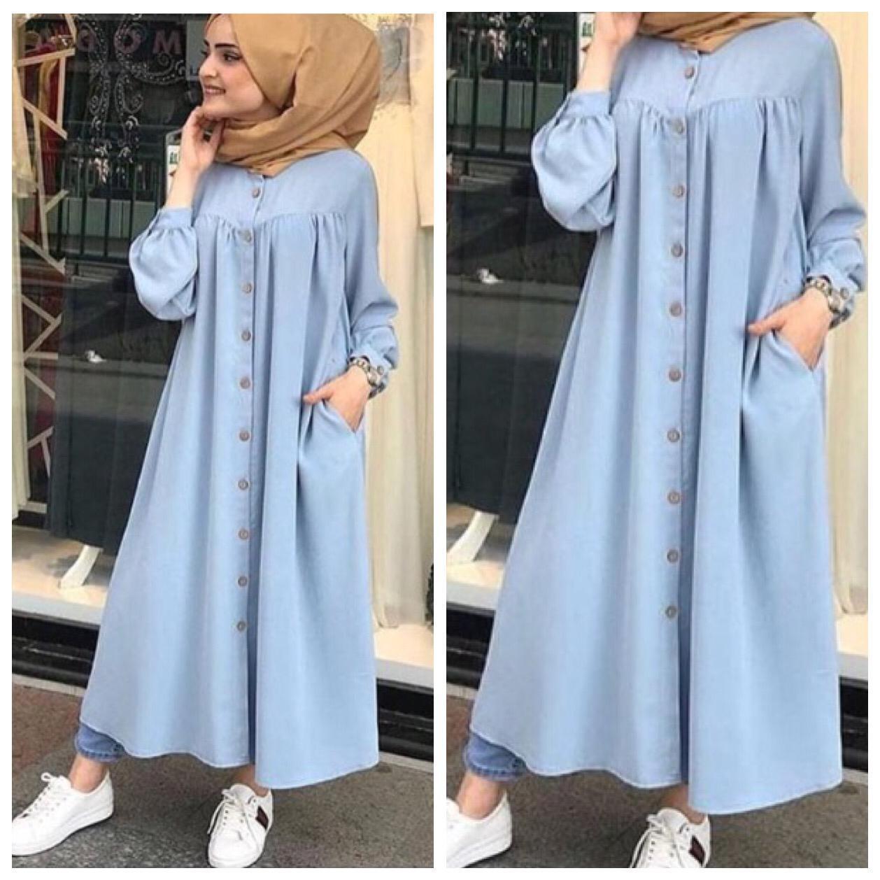 Damai Fashion Jakarta Baju Long Dress Muslim Gamis Wanita Kanaya Konveksi Murah