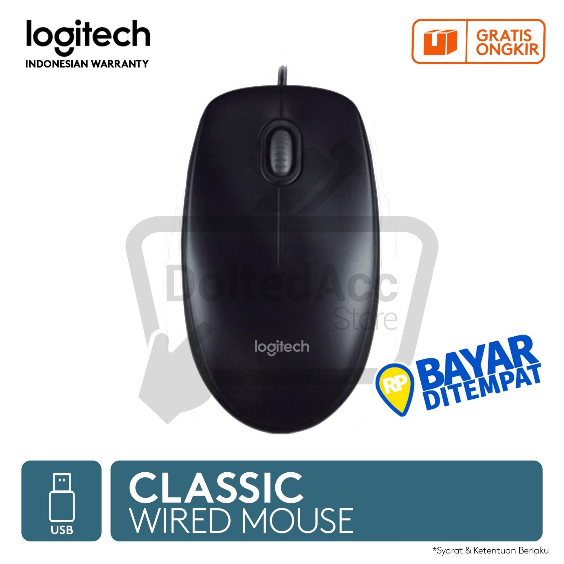 Logitech M100r Wired Optical Mouse Free Mousepad - Hitam