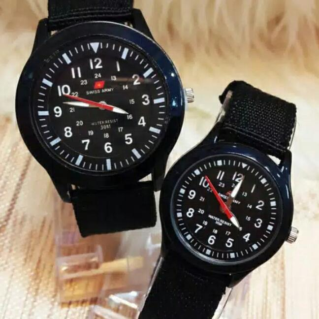Swiss Army Jam Tangan Fashion/casual Couple Analog Pria - Wanita Strap Kanvas By Lusty Store.