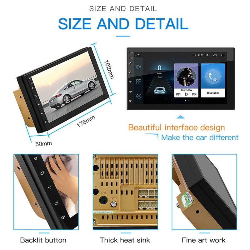 """7/"""" 2Din Android 8.1 Quad Core GPS Navi WiFi Car Stereo MP5 Player FM Radio BT"""