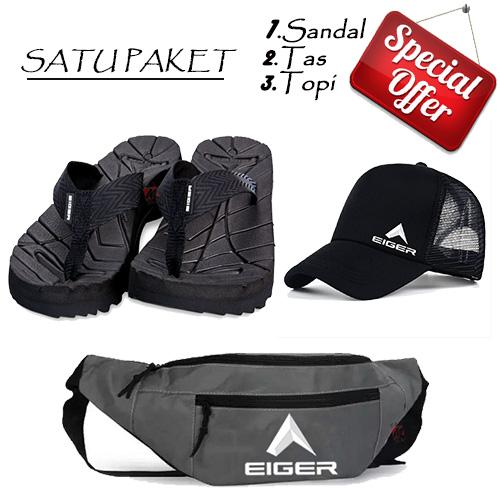 tas selempang pria eiger/ tas charging/ Satu Paket +free Topi dan Sandal/ bisa cod/ size sandal 41