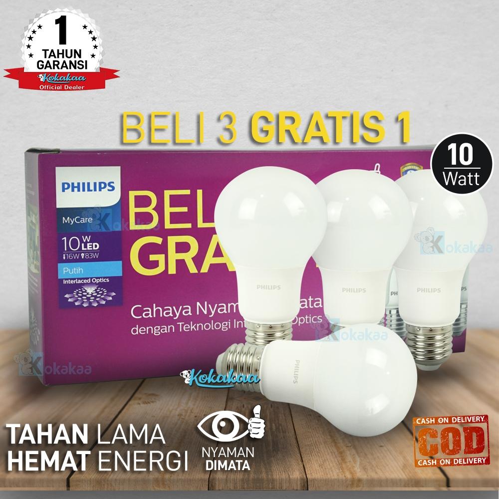 Philips Lampu Bohlam LED MyCare 10 Watt ( 83W ) Paket 4 Pcs Hemat Energi Cahaya Lampu 1020 Lumen GARANSI Resmi 1 TAHUN (Umur 15000 Jam) - Putih