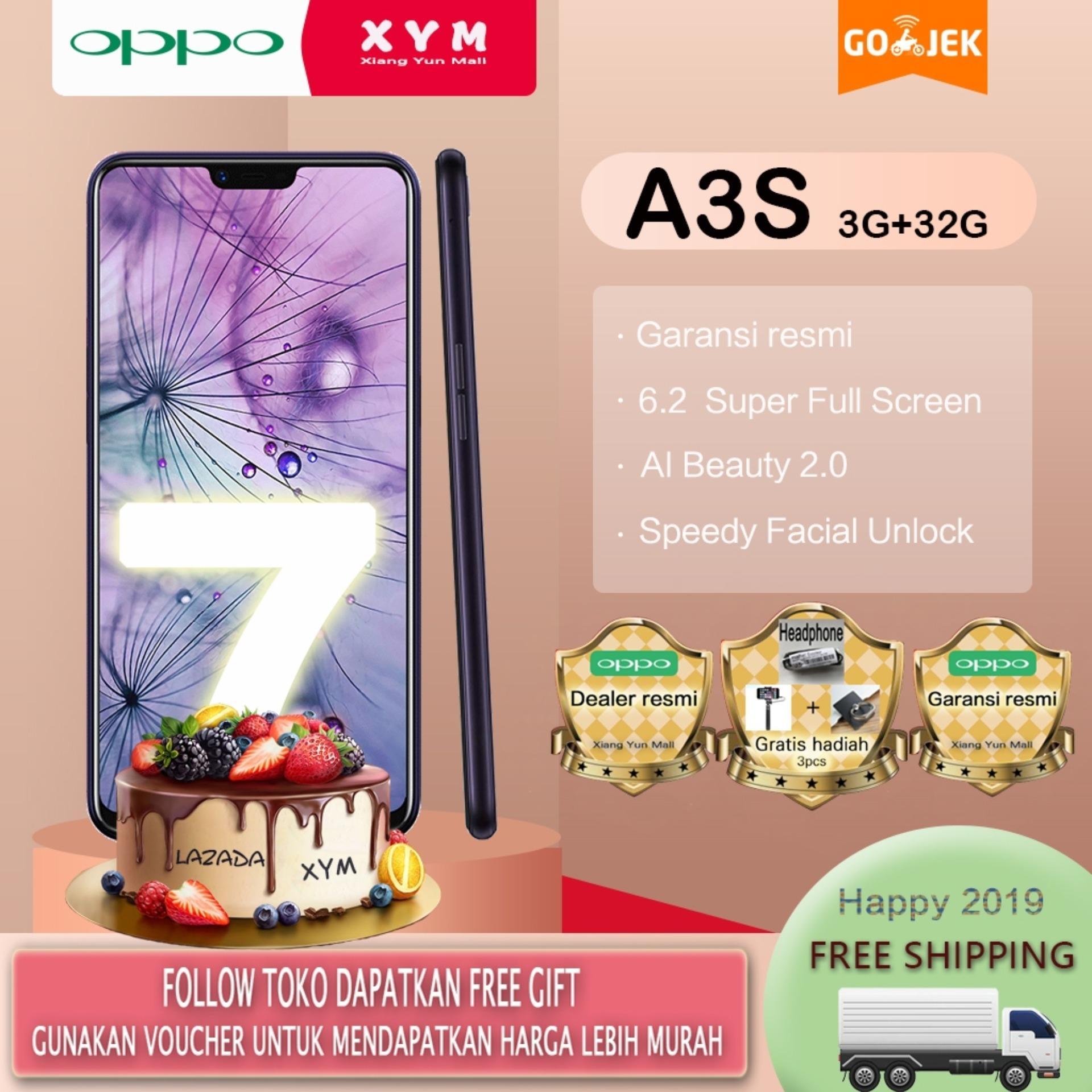 OPPO A3s hp 3G/32G - COD, Gratis Ongkir, 6.2 Super Full Screen, Speedy Facial Unlock, Garansi resmi [ Please use the voucher ]