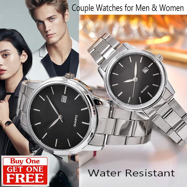 Jam tangan Couple Alba - AB88071A-GL-Tgl Stainless Stell Band - Buy One Free One + FREE BATERAI