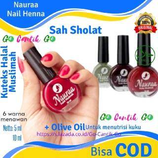 Hena Henna Inai Nauraa Kutek Kotek Kuteks Kuku Halal Muslimah untuk Sholat Botol Bulat Original thumbnail