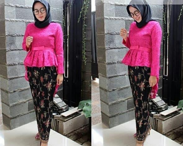 Setelan Kebaya Brukat Aurora Kebaya Modern Baju Batik Wanita Kebaya Pesta Baju Kondangan Mix Rok Plisket - Pink Fanta