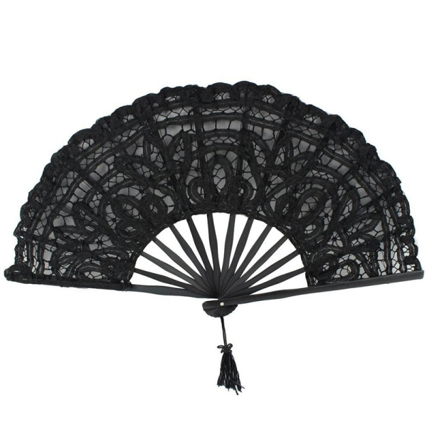 Handmade Cotton Lace Folding Hand Fan for Party Bridal Wedding Decoration (Black) Singapore