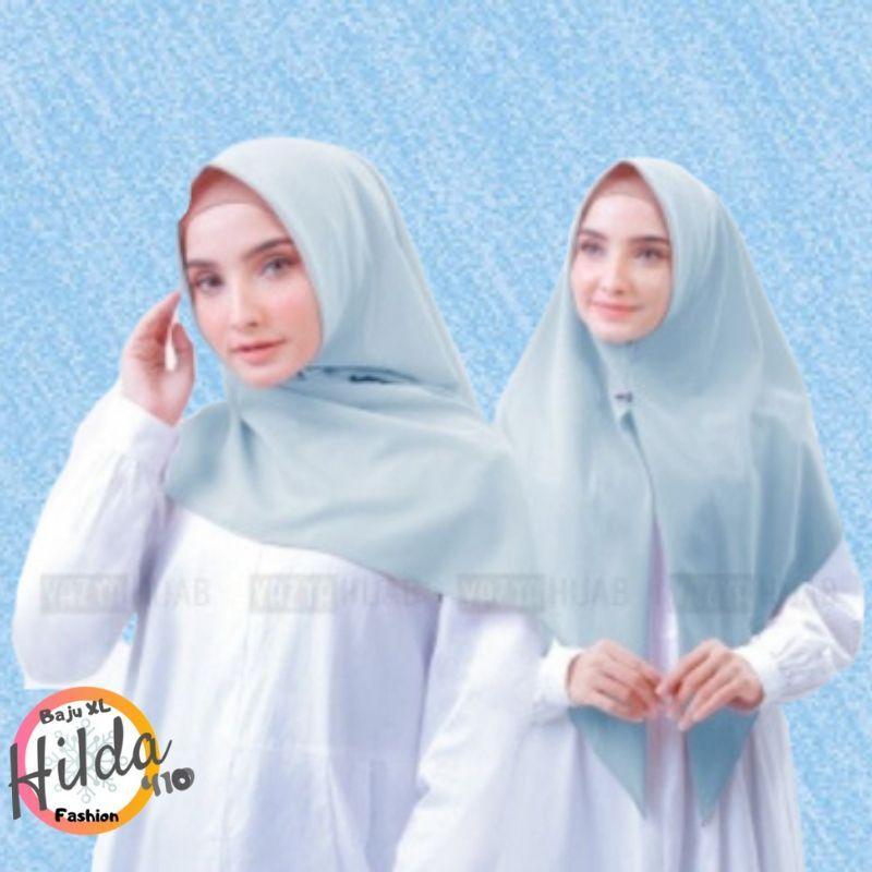HILDA410 FASHION - Jilbab Hijab Kerudung Polos Terbaru 2019 SEGITIGA Segi Tiga INSTAN Instant Diamond Georgette Langsung slup / pashmina / khimar BANYAK WARNA