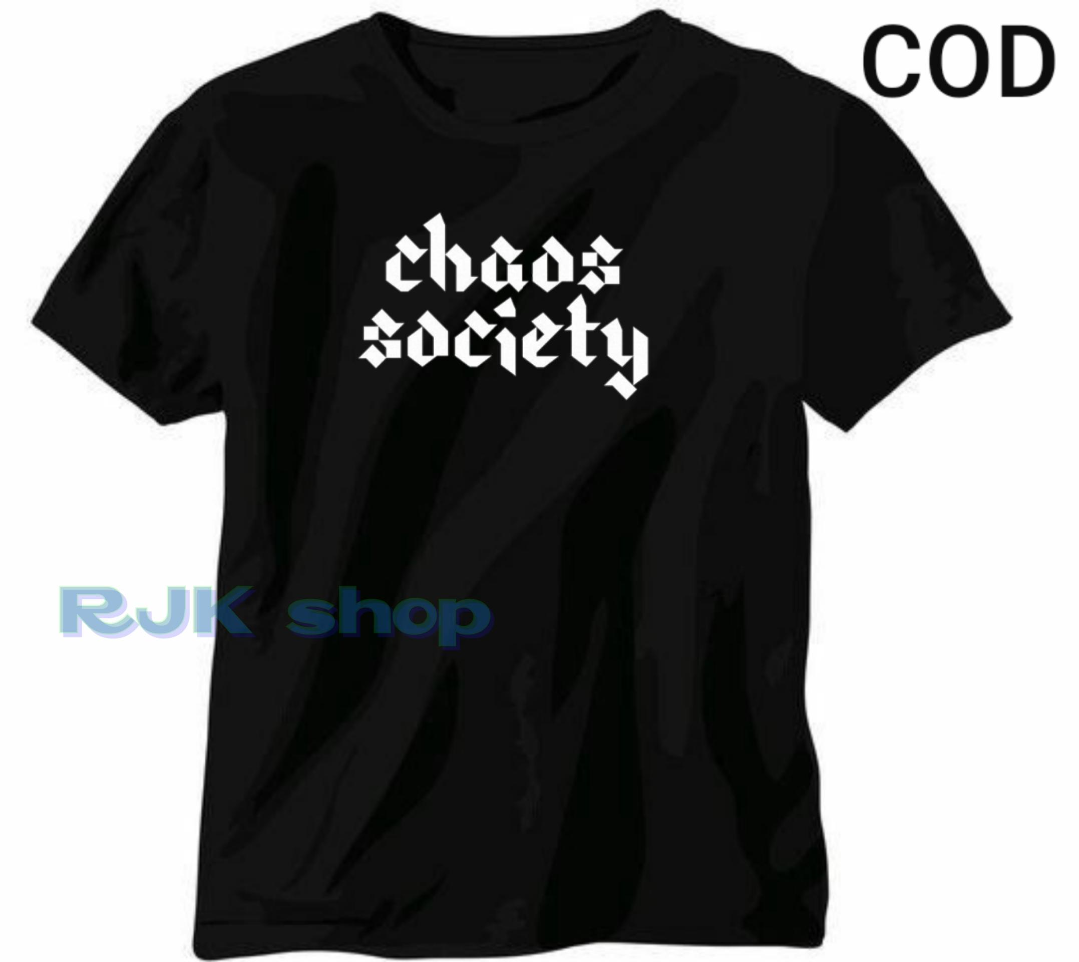 RJK SHOP- Kaos distro * CHAOS SOCIETY * / Cotton Combed 30s Size S M L XL XXL Baju Kaos Distro Jumb
