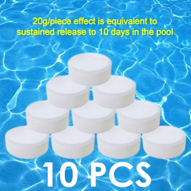 Byssherer 10 CHIẾC 200g Clo Viên Đa Năng 5 Trong 1 Bể Bơi Nước Nóng SPA Diệt Khuẩn Viên Vệ Sinh Dụng Cụ