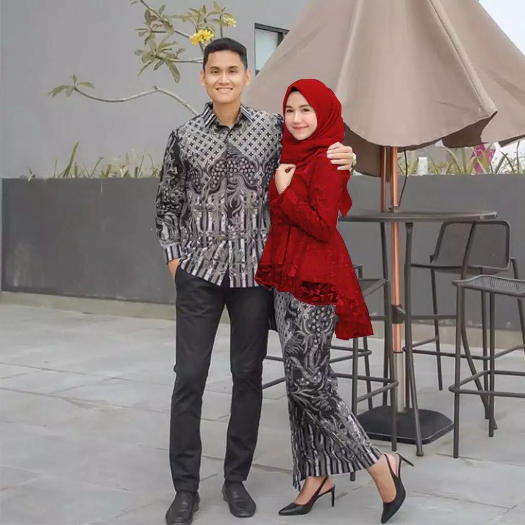 [Busui-Ori 6 Varian warna] Batik Couple andhini - Baju Muslim Wanita Terbaru- Couple Batik - Baju Batik Couple-Kebaya Modern -batik sarimbit Wou Batik