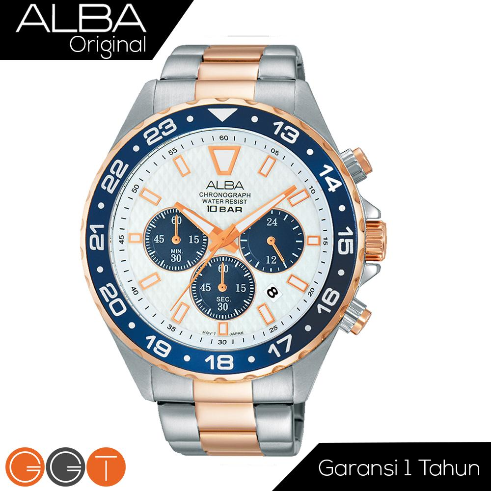 Alba Chronograph Jam Tangan - Strap Stainless Steel - AT3904X1 - Gold Blue 64ddb15dac