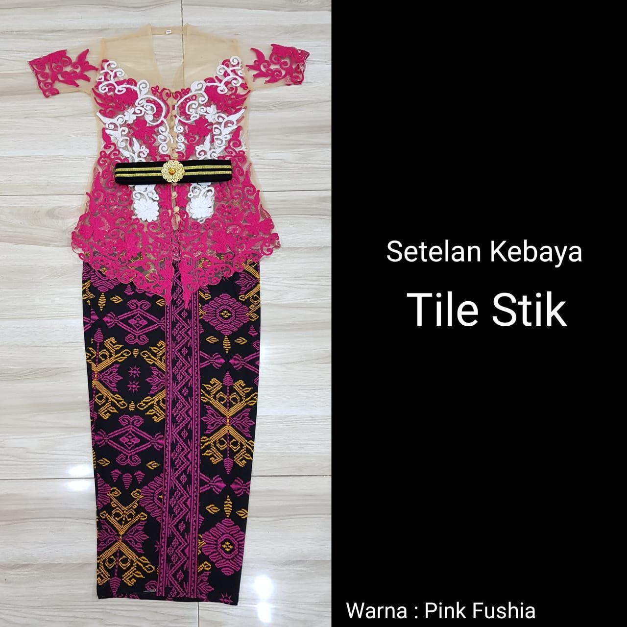 SIXMO - Setelan Kebaya Tile Stik Bordir dan Rok Lycra Panjang Kebaya Bali Modern