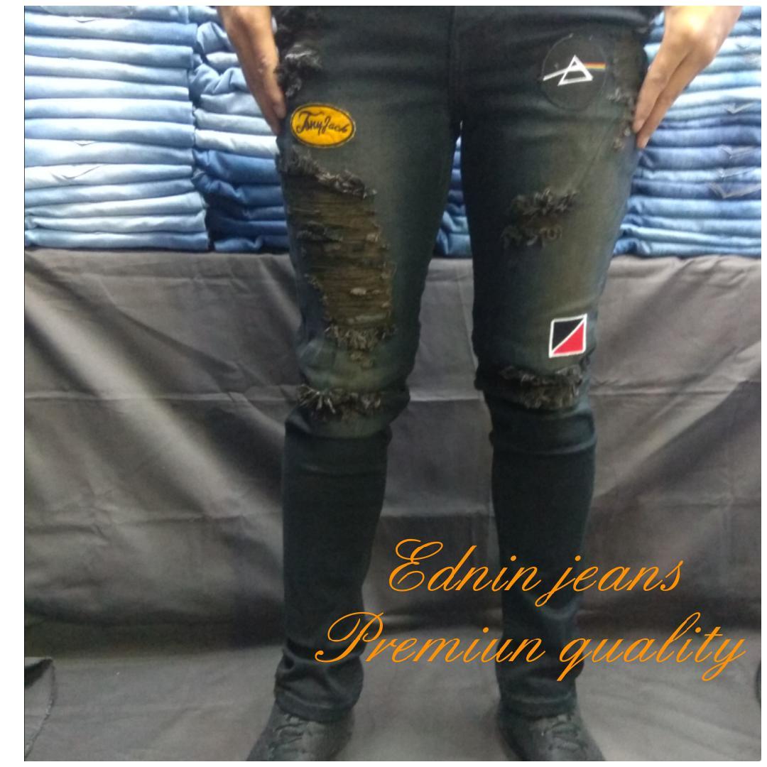 Ednin jeans.Celana jeans sobek/robek pria. PREMIUM  slimfit STRETCH gaul.
