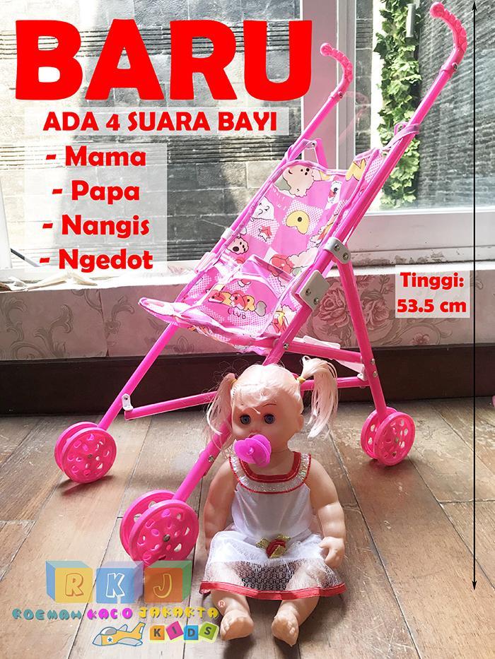 ( Boneka Ada 4 Suara Bayi ) Rkj Mainan Anak Perempuan My Baby Set + Dorongan / Trolley Bayi By Rkj Toys