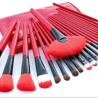 KM PALING LENGKAP ISI 24 PCS Kuas Make Up Cosmetic Brush with Pouch Professional Brushes Makeup Set Kit Tool Brushes Super Soft Pouch Kosmetik Peralatan Kecantikan Wanita Profesional Bulu Halus Lembut Dandan Wajah Maksimal 1
