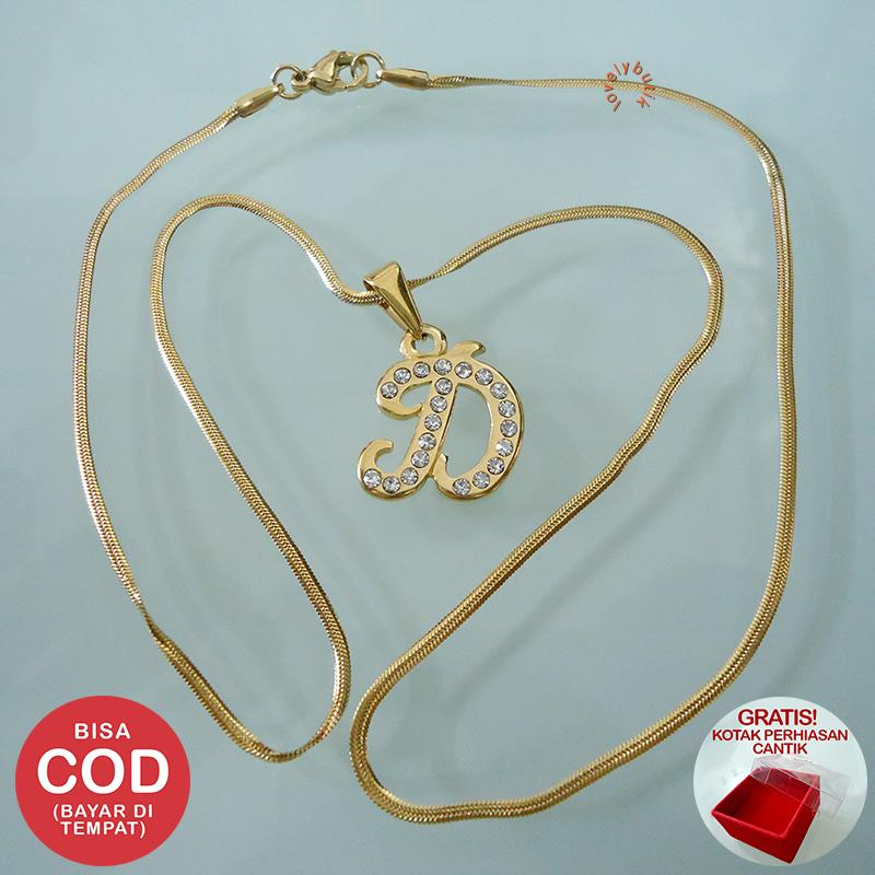 Lovely Honey Kalung Titanium Gold Inisial D Gold Wanita / Kalung Titanium Wanita / Kalung Titanium