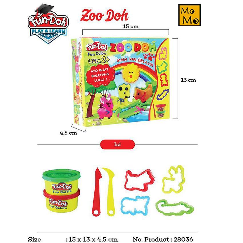 Fun Doh 28036 Lilin Mainan Zoo Doh - Mainan Anak / Seri Kebun Binatang By Plasamainan.