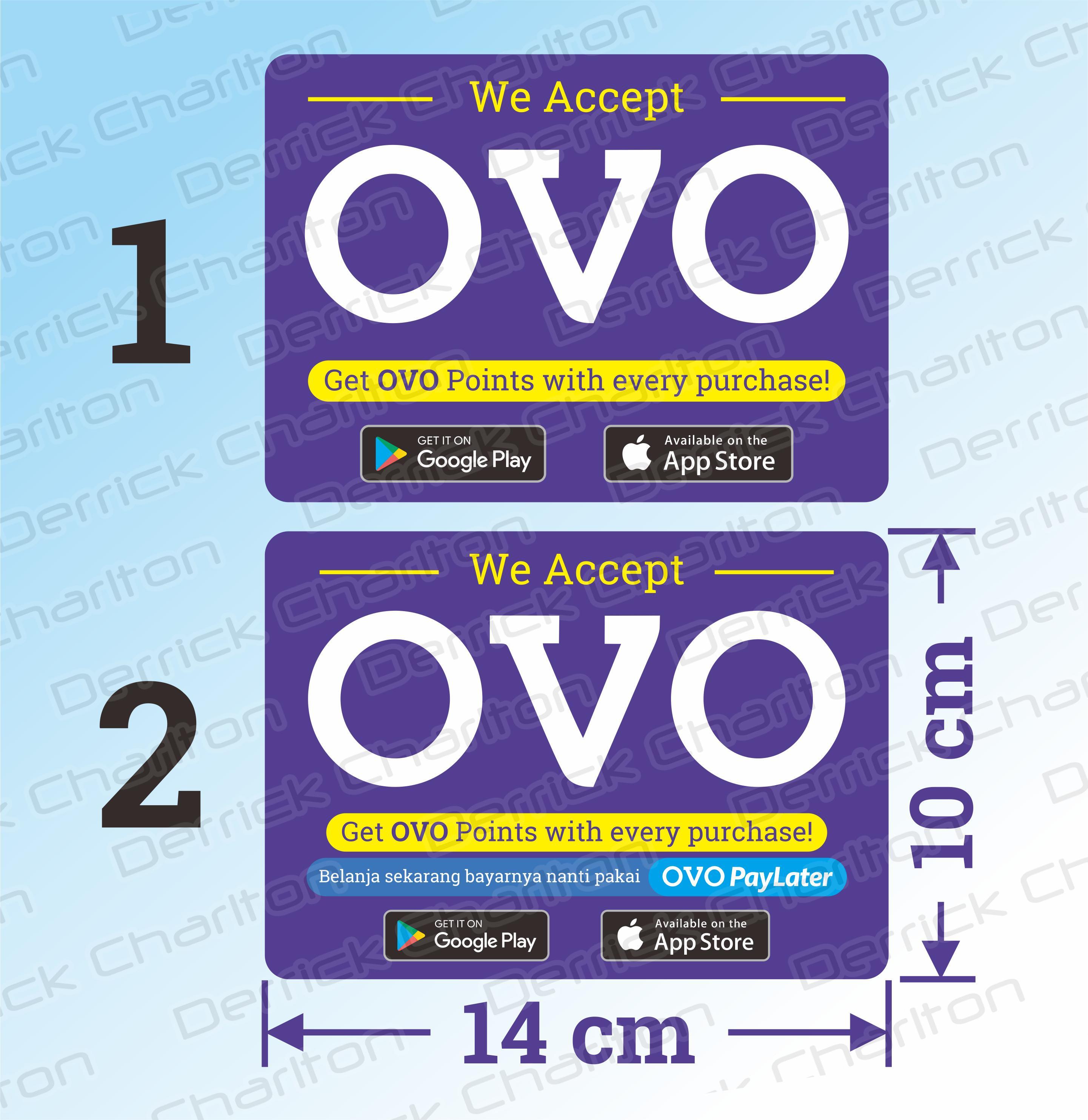 Wall Sticker OVO Pembayaran Digital Non Tunai Cashless Dinding Kaca Resto Kafe Rumah Makan Vinyl Stiker Tahan Air 14 x 10 cm (2 pcs)