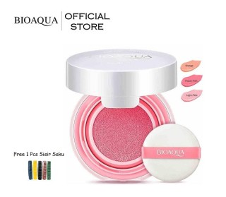BIOAQUA Official Smooth Muscle Flawless Blush On Cushion - 12g - Perona Pipi Bioaqua Bio Aqua Terlihat Natural dan Warna Soft Color Blusher Blush On Powder Mini Cushion Ringan Dipakai Bulu Soft isi 12 gr Free 1 Pcs Sisir Rambut Warna Random thumbnail