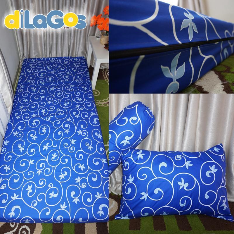 [PROMO DILAGOS] Sarung kasur busa sprei resleting Batik biru-Single NO4