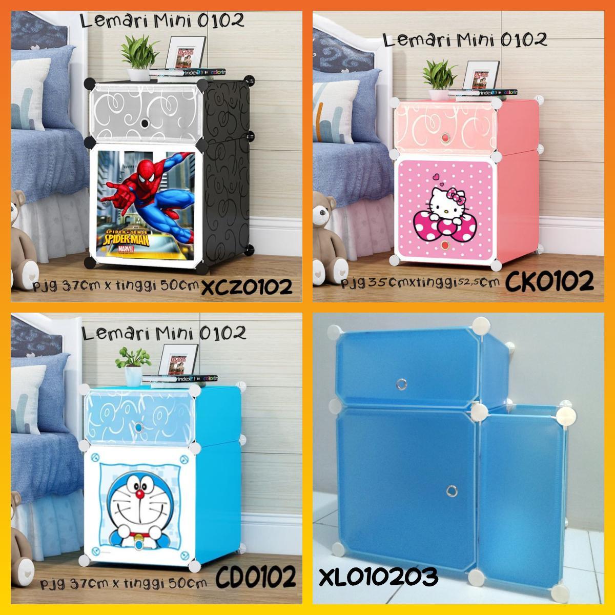 Worldhome - Lemari Sisi Ranjang Plastik/lemari Pakaian Portable/lemari Serba Guna Hard Plastic By World Home.