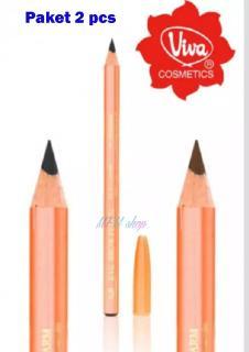 PROMO 2 PCS - Pensil Alis Viva Queen Eyebrow Pencil Pencil Eyebrow Pensil Makeup Berkualitas- Warna Coklat dan Hitam thumbnail