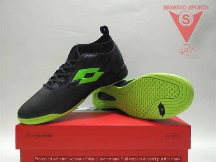 SEPATU FUTSAL - LOTTO VELOCE IN ORIGINAL L01040003 BLACK GREEN FLASH 3e61e4062e