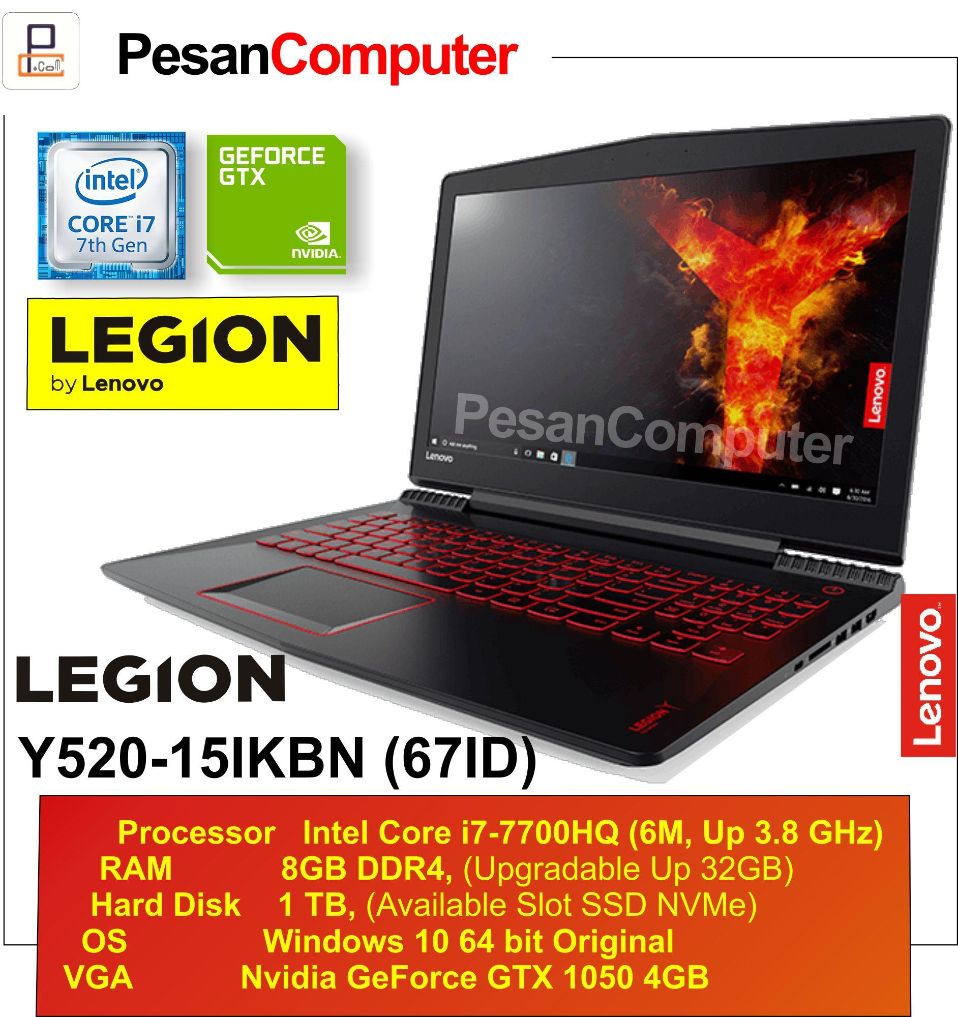 Lenovo Legion Y520 -15IKBN 67ID Intel Core i7 -7700HQ RAM 8GB HDD 1TB NVIDIA