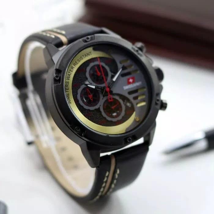 BISA BAYAR DI TEMPAT (COD) Jam Tangan Pria Swiss Army ,Tali KuliT (Leather Strap)jam tangan model baru, keren Limited edition (Crono & Tanggal Aktif)