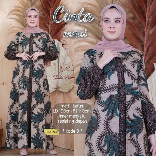 PROMO !!! BAYAR DITEMPAT - Baju Batik Wanita / Batik Modern / Gamis Wanita Terbaru / Batik/ Baju Muslim Wanita Terbaru / Batik Sarimbit / Baju Batik Modern / Batik Kondangan / Batik Keluarga / Batik Pekalongan - Batik Gamis Cinta Maxy #1
