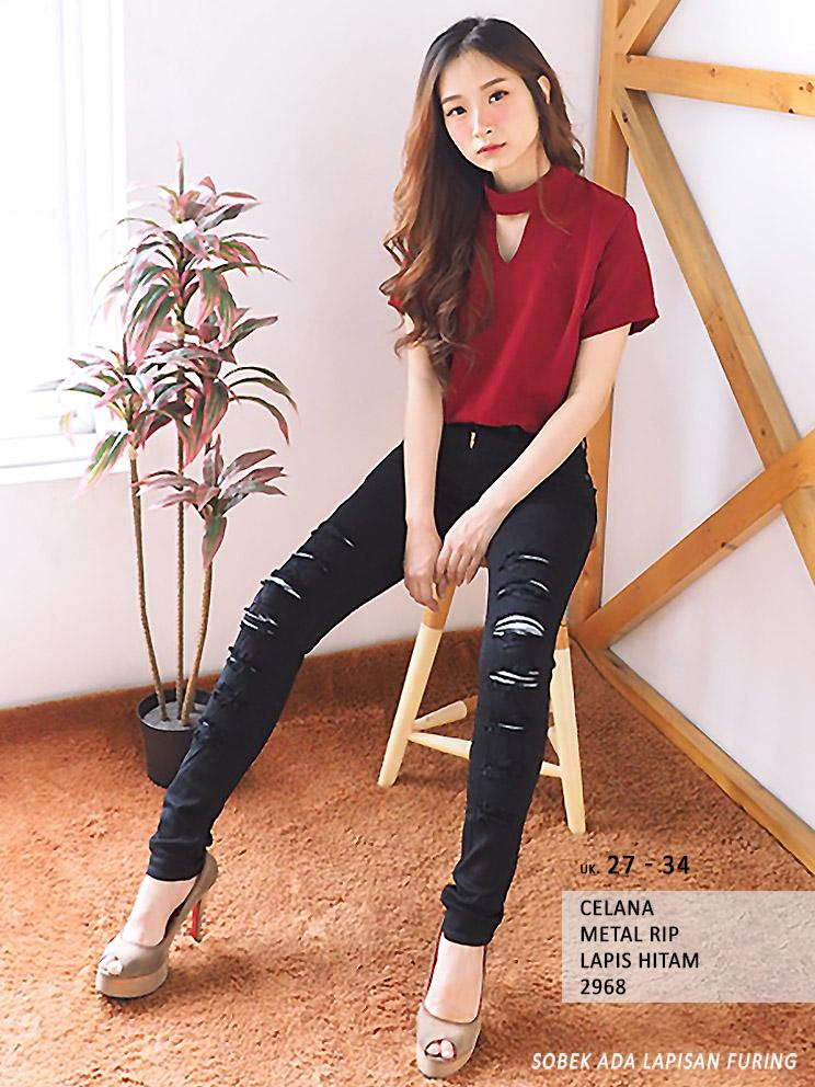(SALE) Celana Fashion Wanita - Skinny Jeans (Black Metal) Rip Lapis -