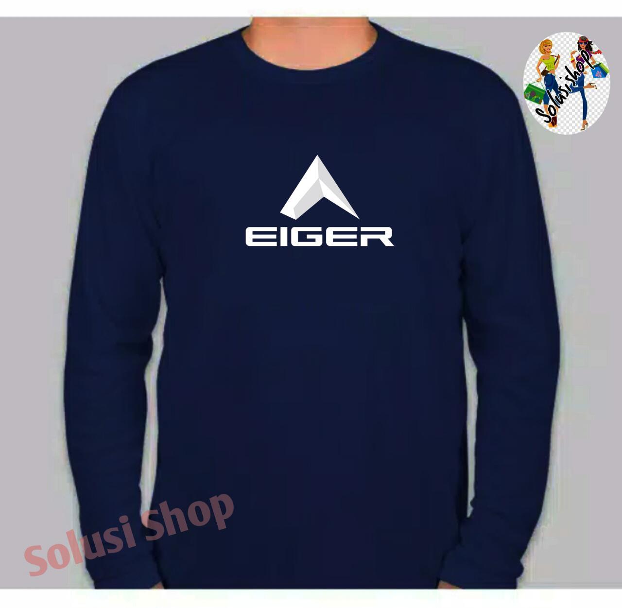 Baju Kaos Lengan Panjang EIGER Keren Logo Texs Putih Distro Premium