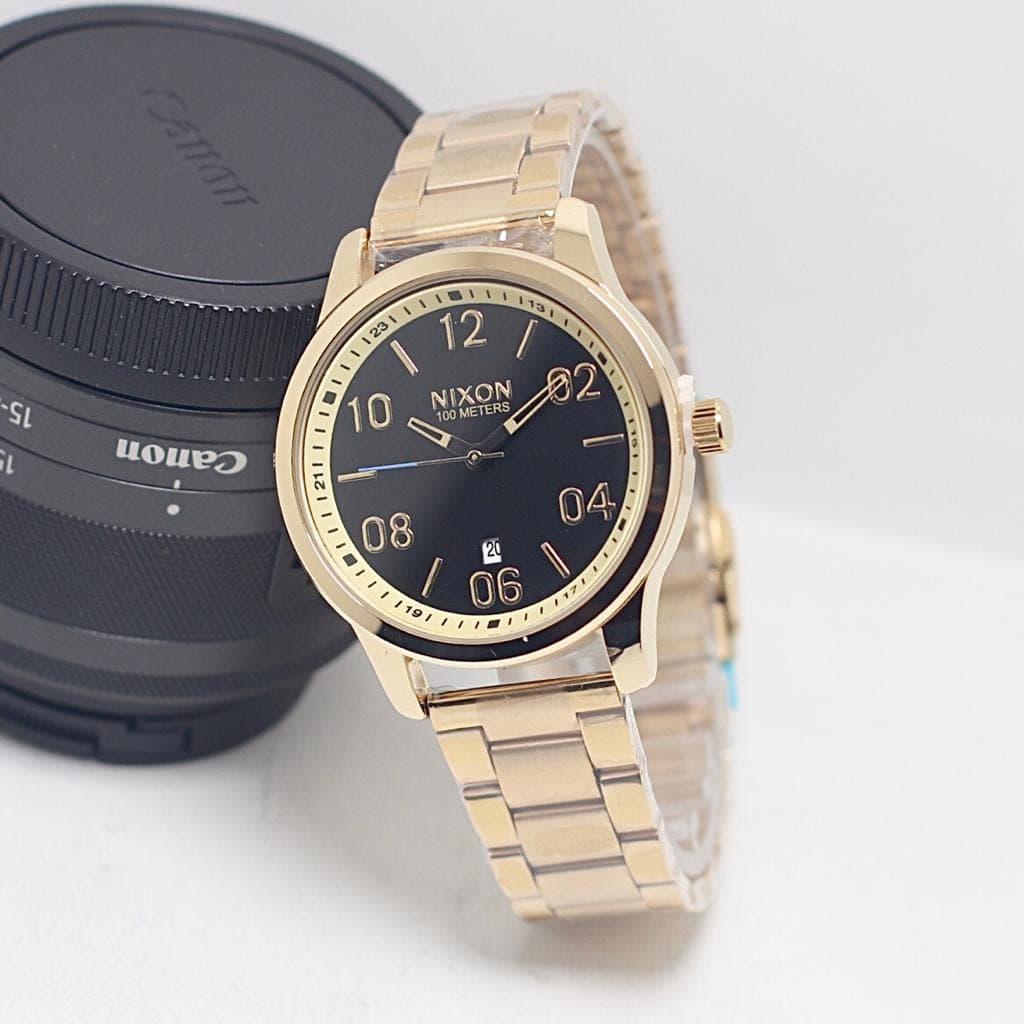 Skypea Jam Tangan Pria Nixon Sk4551SN Rantai Gold Black Anti Air BONUS BOX ORIGINAL
