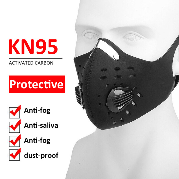 versea Comfortable and breathable Black cycling Face Shield Mouth Masks five layer with breathing valve Face Mask Cover for outdoor