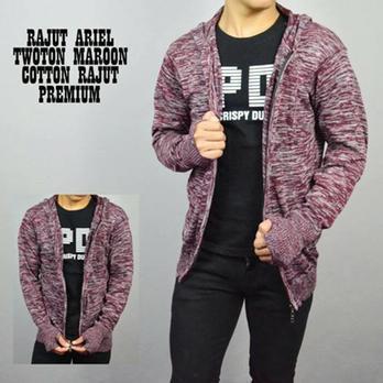Sweater Rajut Twotone Hitam Jaket Rajut Ariel Rajut Twice Rajut Twist Cowok Pria Dan Wanita