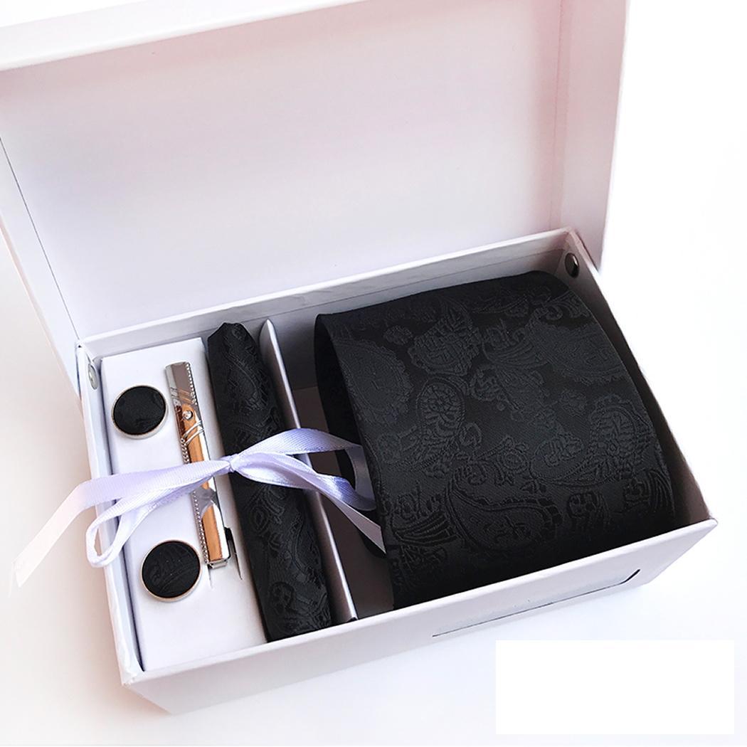2018 Baru Formal 8 Cm Dasi Set untuk Pria atau Saku Persegi Dasi Klip Saputangan Pria Bergaris Pernikahan Pesta Dasi dengan Hadiah Kotak (Hitam)