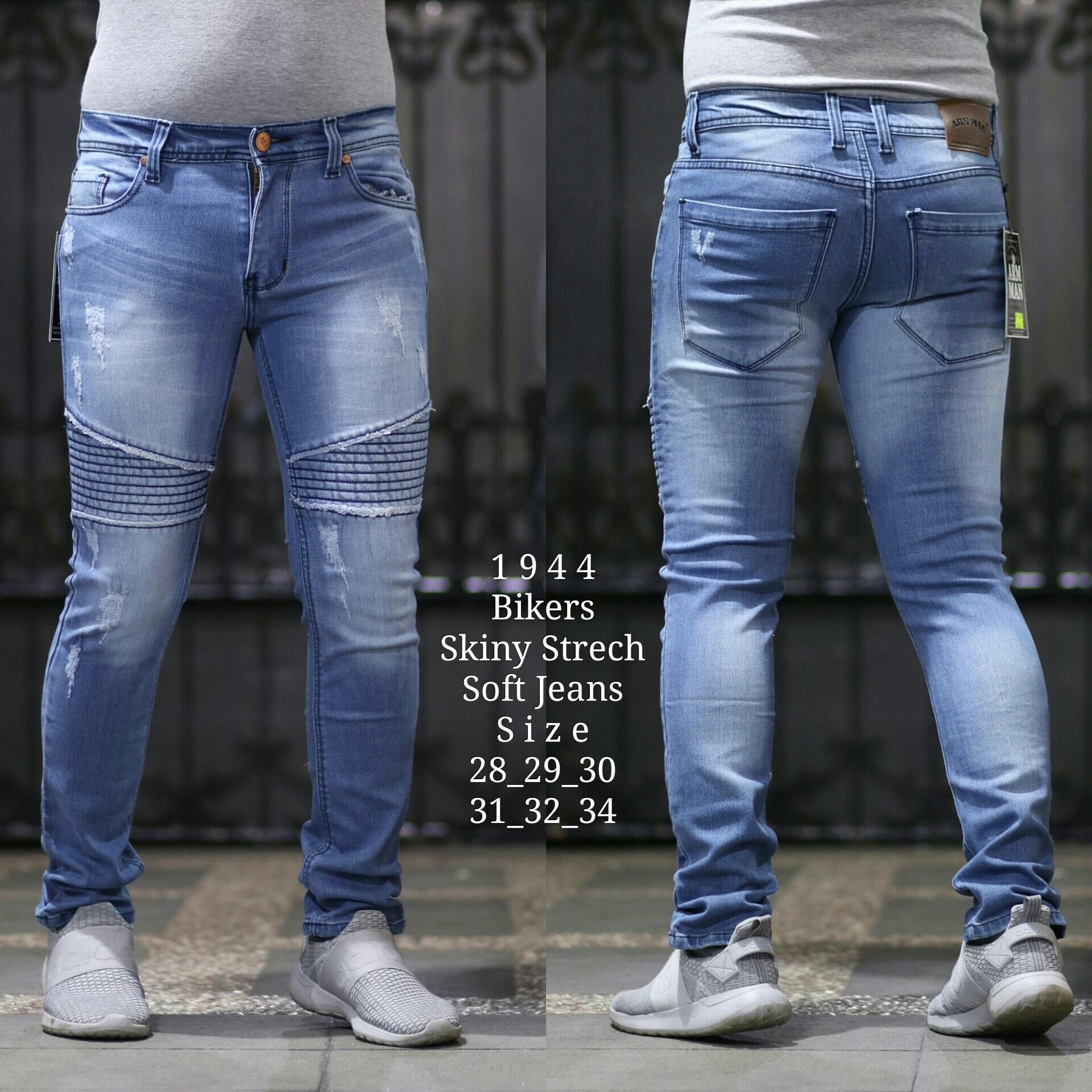 Celana Jeans Biker Stretch Pria/Celana Skinny/Slimfit Premium