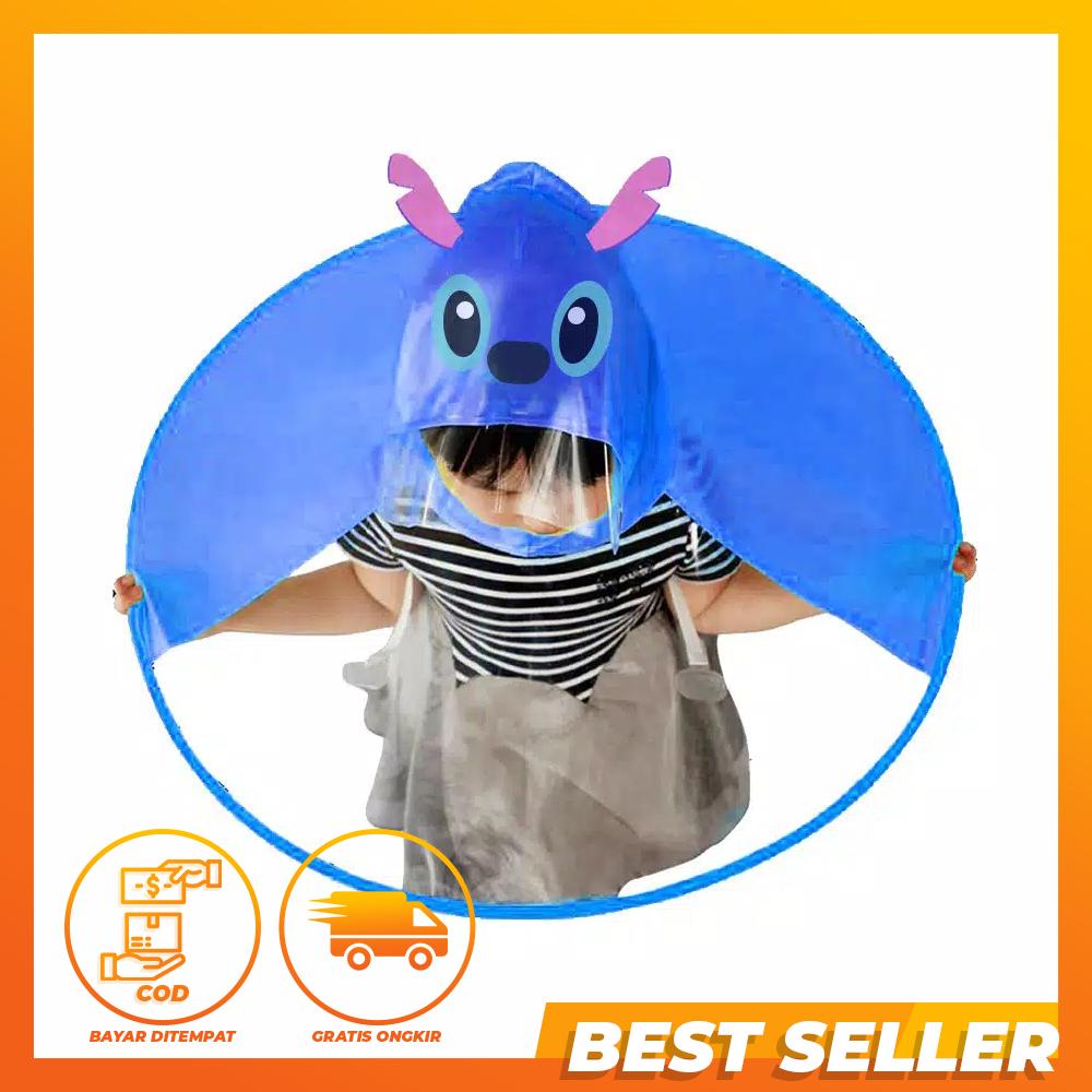 [PROMO TERBATAS] Jas Hujan Anak Karakter Bentuk UFO Model Kartun Lucu Keroppi Stitch Hello Kitty Tayo Payung Anak Topi Hujan Cape Raincoat For Kids