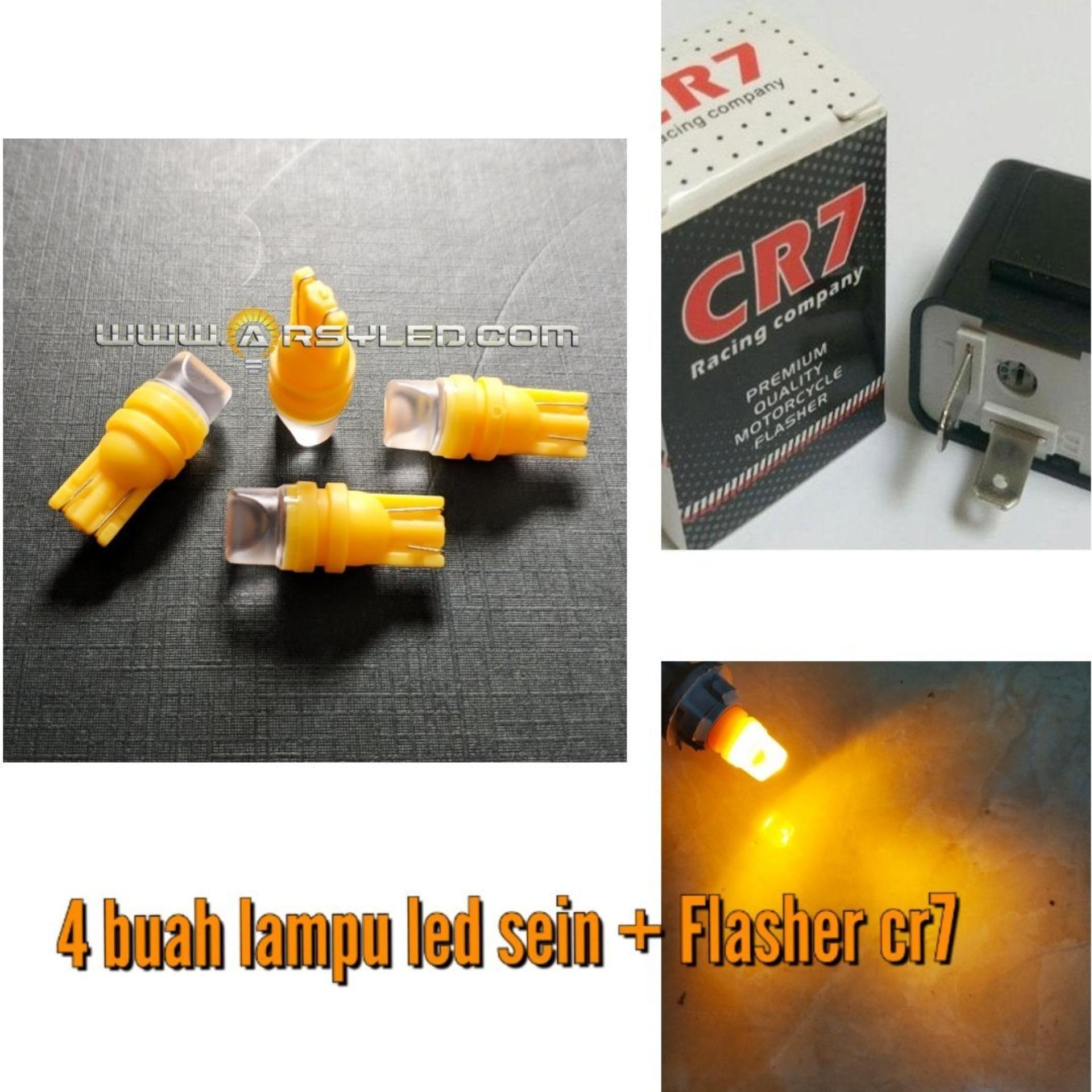 PAKET 4 BIJI Lampu SEIN SEN T10 + Flasher CR7 LED COSMO 3D lens Premium Grade A Super Bright Motor ARSYSTORE - KUNING