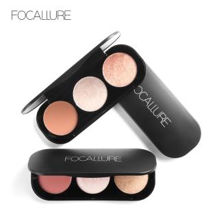 Focallure 3 Warna Opsional Blush & Stabilo Palet Wajah Matte Highlighter Powder Bedak Blush Diterangi thumbnail