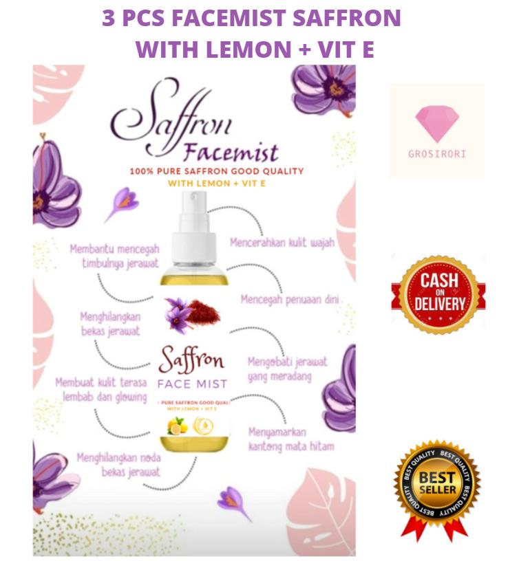 3 Pcs Air Saffron With Lemon Original 100ml Facemist Saffron Face Mist Saffron Air Safron Air Semprot Muka Saffron By Grosirori Lazada Indonesia