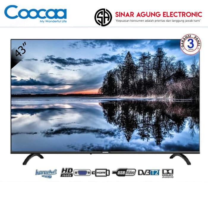 "Coocaa LED DIGITAL TV 43"" 43TB2000 – Hitam FREE Packing Kayu"