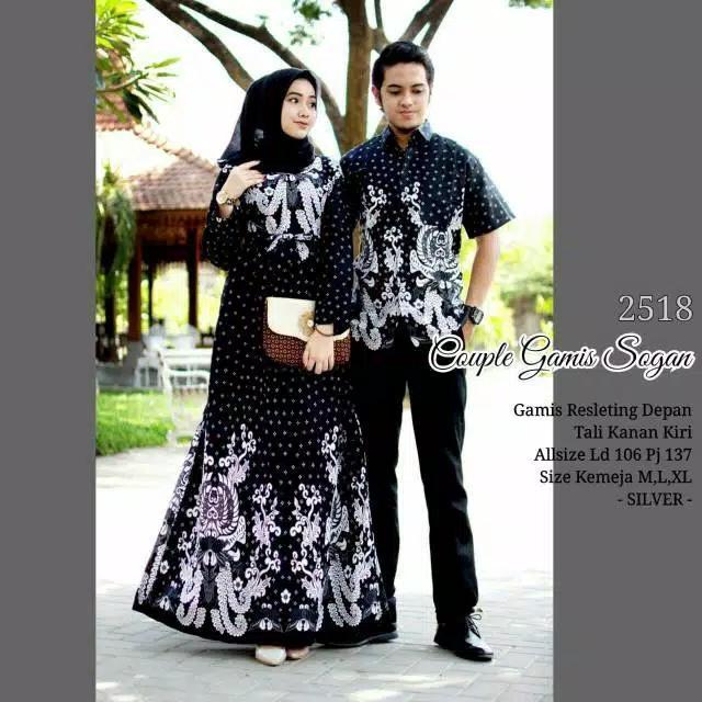( BAYAR DI RUMAH )  Baju gamis batik couple modern pasangan murah terbaru Couple Gamis Sogan-2518