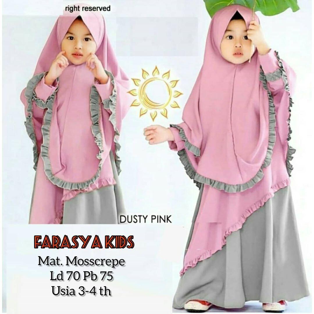Farasya Gamis Syari Anak (FREE KHIMAR) Bahan Mosscrepe / Baju Anak / Gamis  Anak / Baju Muslim Anak / Gamis Anak / Pakaian Anak Perempuan / Busana