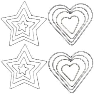 16 Pcs DIY Craft Dream Catchers Star & Heart Shape Rings Metal Hoops (Silver) thumbnail